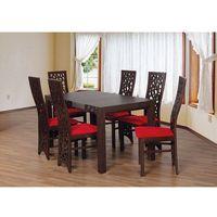 Rzeźbione oparcia krzeseł hit komplet stół + 6 krzeseł