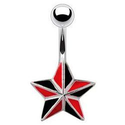 piercing Body Art 01NSQ-2801-1 - Black & Red Star
