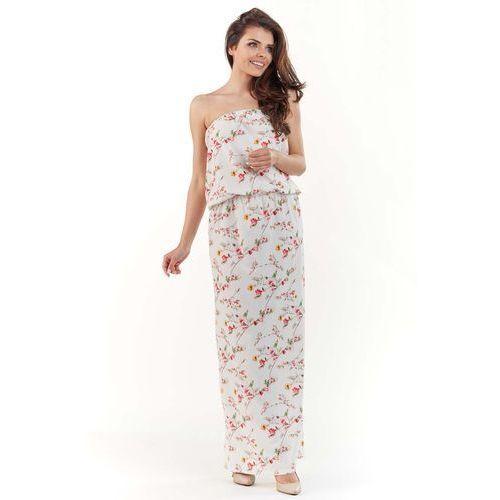 904854cb4f Ecru Długa Sukienka w Kwiatki z Odkrytymi Ramionami - porównaj zanim ...