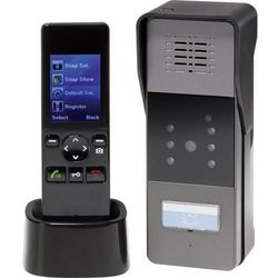 Bezprzewodowy domofon wideo renkforce 1275880, Kompletny zestaw, Interkom drzwiowy z wideo, Dom jednorodzinny, Kolor: Czarny