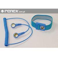 Opaska antystatyczna ESD nadgarstkowa niebieska z przewodem 1,8m