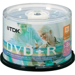 Płyta DVD+R TDK, 4,7 GB, 120 min, prędkość zapisu 16x, zestaw 50 szt.