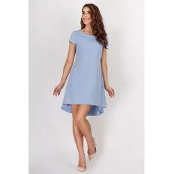 Niebieska Wyjściowa Sukienka z Dłuższym Tyłem w Kondrafałdy