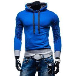 Niebieska bluza męska z kapturem Denley AK91 - NIEBIESKI Bluzy 39,99 cd - 03.10.15 (-20%)