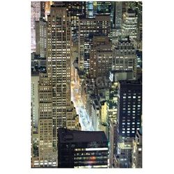 Plakat New York City Manhattan widok z lotu ptaka o zmierzchu z miejskich panoramę miasta i drapaczy chmur budynków