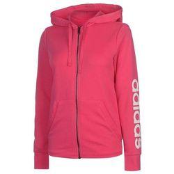 informacje o wersji na ujęcia stóp wysoka jakość Adidas Linear, bluza damska z kapturem na zamek, różowa, Rozmiar XL