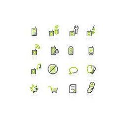 Foto naklejka samoprzylepna 100 x 100 cm - Zielono- szare ikony telefonów komórkowych