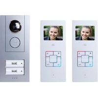Domofon m-e modern-electronics Vistus VD6320, Kompletny zestaw, Interkom drzwiowy z wideo, Dom dwurodzinny, Kolor: Srebrny, Biały