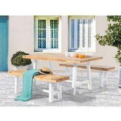 Meble ogrodowe biało-brązowe - ogród - stół z 2 ławkami - SCANIA