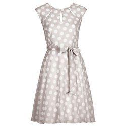 Sukienka w groszki bonprix piaskowo-biały w groszki