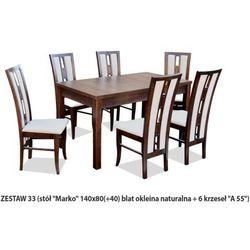 Zestaw Ares 33 Stół 80x140(+40) 6 krzeseł A55