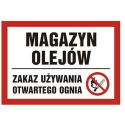 Magazyn olejów. Zakaz używania otwartego ognia