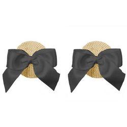 Nakładki na sutki Nippies Gold - kokardki czarne