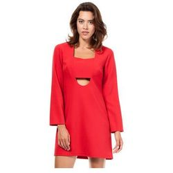 BW028 - Mini sukienka w kształcie litery A - Czerwony