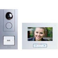 Domofon m-e modern-electronics Vistus VD 6710, Kompletny zestaw, Interkom drzwiowy z wideo, Dom jednorodzinny, Kolor: Srebrny, Biały