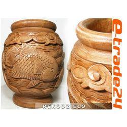 Stylowy Rzeźbiony WAZON Ryby z Drewna Rękodzieło