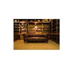 Foto naklejka samoprzylepna 100 x 100 cm - Brązowe skórzane kanapy retro