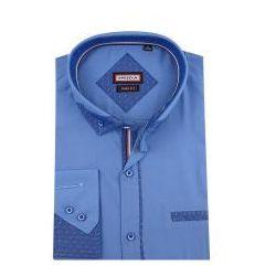 08c84a3fbf0a66 Koszula Męska Speed.A gładka niebieska SLIM FIT z ozdobnym kołnierzykiem na długi  rękaw D854