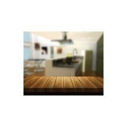 Foto naklejka samoprzylepna 100 x 100 cm - Drewniany stół z kuchnią w tle