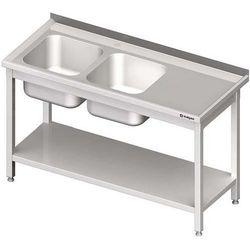 Stół ze zlewem dwukomorowym z półką STALGAST 1400x600x850 lewy