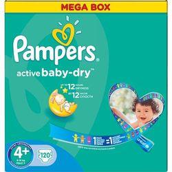 PAMPERS Active Baby 4+ MAXI PLUS 120 szt. (9-16 kg) MEGA Box – pieluszki jednorazowe