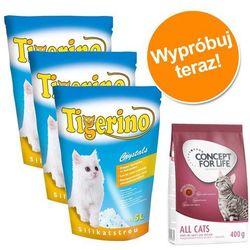 Pakiet: 3 x 5l Tigerino Crystals + Concept for Life 400 g - Kitten