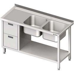 Stół ze zlewem dwukomorowym z dwiema szufladami i półką STALGAST 1400x700x850 prawy