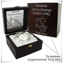 Posrebrzany obrazek kryształ Pamiątka Chrztu Świętego w drewnianej szkatułce z opcją zamieszczenia graweru