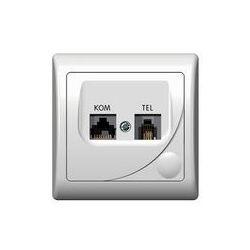 Ospel Efekt Gniazdo komputerowo-telefoniczne RJ 45, kat. 5e, (8-stykowe) + RJ 11 (6-stykowe) - Biały - GPKT-F/K/00