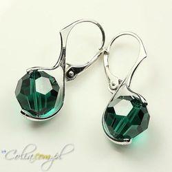 Kolczyki Swarovski Elements round emerald