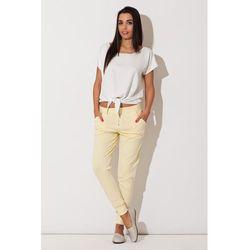 Żółte Spodnie ze Zwężanymi Nogawkami z Efektownym Suwakiem