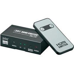 Rozdzielacz splitter HDMI, Goobay, 2 x IN => 1 x OUT, pozłacane wtyki, obraz 3D, pilot