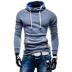 Niebieska bluza męska z kapturem Denley 3180 - NIEBIESKI Bluzy - 39,99 (-27%)