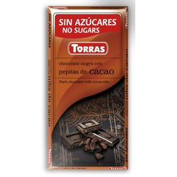 Czekolada gorzka z ziarnami kakao, bez cukru, bezglutenowa 75g