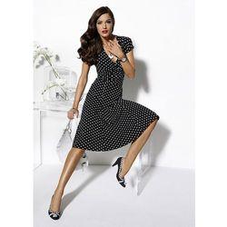 Sukienka w groszki bonprix czarno-biały w groszki