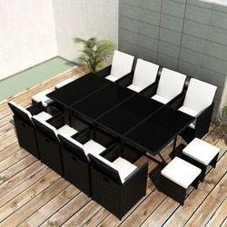 vidaXL Rattanowy komplet jadalniany, 8 foteli, 4 taborety, czarny Darmowa wysyłka i zwroty