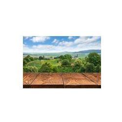 Foto naklejka samoprzylepna 100 x 100 cm - Drewniany stół z winnic krajobrazu