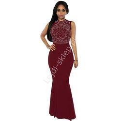 Długa bordowa suknia ze srebrnymi jetami | długie bordowe suknie