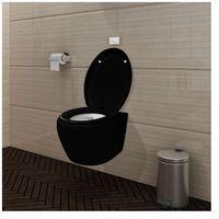 Wisząca toaleta z cichym zamykaniem muszli (czarna) + zbiornik na wodę Zapisz się do naszego Newslettera i odbierz voucher 20 PLN na zakupy w VidaXL!