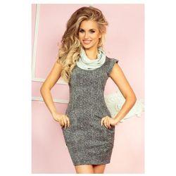 48-1 Golf - sukienka z dużymi kieszeniami i krótkim rękawkiem - Pieprz i sól