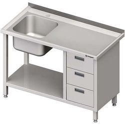 Stół ze zlewem jednokomorowym z trzema szufladami i półką STALGAST 1800x700x850 lewy