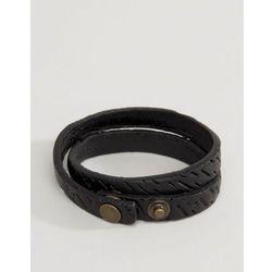 Diesel A-Trace Leather Wrap Bracelet In Black - Black