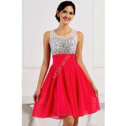 Kryształkowa sukienka z szyfonu - na studniówkę, wesele, karnawał, fuksja