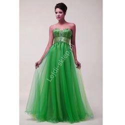 Oliwkowo turkusowa długa sukienka| długie sukienki z kryształkami
