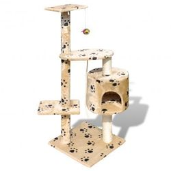 Drapak dla kota 114 cm 1 domek, beż z motywem łapek Zapisz się do naszego Newslettera i odbierz voucher 20 PLN na zakupy w VidaXL!