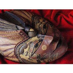 Dekoracyjny Prezent RZEŹBA Egzotyczna Maska NIEZŁOMNOŚCI
