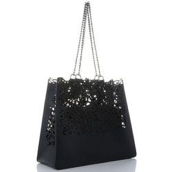 8d7ae9a05be0c Vittoria Gotti Ekskluzywna Torba Skórzana Elegancki Włoski Ażurowy Shopper  XL z Kosmetyczką Czarna (kolory)
