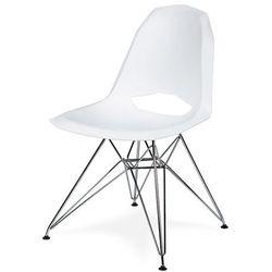 Krzesło GULAR DSR - Białe, nogi metalowe.