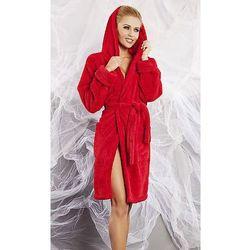 Diana szlafrok damski z kapturem w kolorze czerwieni