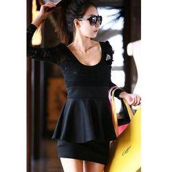 Śliczna Czarna Sukienka Japan Style z Koronki + Baskinka
